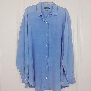 J.Crew | 100% silk long sleeve chambray shirt